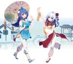 2girls ahoge bili_girl_22 bili_girl_33 bilibili_douga blue_hair blush breasts eyebrows_visible_through_hair flat_chest flower hair_flower hair_ornament large_breasts long_hair long_sleeves looking_at_another multiple_girls open_mouth oriental_umbrella pagoda parted_lips sharlorc short_hair short_pointy_ears short_sleeves side_ponytail smile umbrella