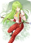 1girl ;) aka_tawashi ascot bangs belt black_footwear blush breasts commentary_request eyebrows_visible_through_hair eyes_visible_through_hair feet_out_of_frame green_eyes green_hair hair_between_eyes high_heels highres holding holding_umbrella juliet_sleeves kazami_yuuka kazami_yuuka_(pc-98) large_breasts leg_up long_hair long_sleeves looking_at_viewer one_eye_closed pants plaid plaid_pants plaid_vest pocket puffy_sleeves red_pants red_vest shirt sidelocks smile solo thighs touhou touhou_(pc-98) umbrella very_long_hair vest white_shirt wing_collar yellow_neckwear