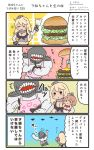 /\/\/\ 2girls 4koma apron blonde_hair brown_hair closed_eyes comic commentary_request dress elbow_gloves food front-tie_top gloves hair_between_eyes hamburger highres holding holding_paper holding_pen iowa_(kantai_collection) kantai_collection long_hair megahiyo multiple_girls open_mouth paper pen pink_apron saratoga_(kantai_collection) shinkaisei-kan short_hair side_ponytail sleeveless sleeveless_dress smile speech_bubble translation_request twitter_username white_dress