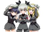 3girls ;d absurdres anchovy anzio_military_uniform armband belt black_bow black_shirt blonde_hair blue_hair blush bow braid brown_eyes carpaccio cowboy_shot crossed_arms dress_shirt drill_hair eyebrows_visible_through_hair girls_und_panzer green_eyes grey_jacket grey_pants grey_skirt grin hair_between_eyes hair_bow highres holding_another's_hair jacket leaning_forward long_hair looking_at_viewer military military_uniform miniskirt multiple_girls official_art one_eye_closed open_mouth pants pepperoni_(girls_und_panzer) red_eyes shiny shiny_hair shirt short_hair_with_long_locks sidelocks silver_hair simple_background single_braid skirt smile standing twin_drills twintails uniform w white_background yoshida_nobuyoshi