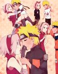 1boy 1girl bike_shorts breasts cosplay facial_mark forehead_protector haruno_sakura hokage konohagakure_symbol naruto naruto_(series) naruto_shippuuden ninja pink_hair sera_(serappi) short_hair socks spiky_hair uzumaki_naruto whisker_markings younger