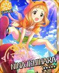 blush brown_eyes brown_hair character_name dress hoodie ichihara_nina idolmaster idolmaster_cinderella_girls long_hair sky stars