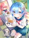 2girls animal bangs bendy_straw blue_eyes blue_hair blue_sailor_collar blue_skirt blush cake cat chair checkered checkered_floor closed_mouth commentary_request cup day drink drinking_glass drinking_straw eating emilia_(re:zero) eyebrows_visible_through_hair feeding food hair_between_eyes hair_ornament hair_ribbon hairclip highres holding holding_plate holding_spoon ice ice_cube indoors melynx_(user_aot2846) multiple_girls natsuki_subaru neckerchief plate pleated_skirt pov_feeding puck_(re:zero) purple_ribbon ram_(re:zero) re:zero_kara_hajimeru_isekai_seikatsu red_eyes red_neckwear redhead rem_(re:zero) ribbon sailor_collar school_uniform serafuku shirt short_hair short_sleeves siblings sisters skirt smile sparkle spoon swiss_roll table thigh-highs twins white_legwear white_shirt x_hair_ornament