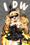 >_< 1girl :3 alternate_costume animal_ear_fluff animal_ears bare_shoulders black_dress black_gloves black_ribbon black_skirt blonde_hair blush cat_ears cat_tail character_name choker closed_eyes commentary cowboy_shot deal_with_it dress elbow_gloves emphasis_lines explosion fang girls_frontline gloves hair_between_eyes hair_ornament heart heart_in_mouth idw_(girls_frontline) index_finger_raised jazzjack low_twintails open_mouth pointing pointing_up ribbon skirt solo stole strapless strapless_dress sunglasses tail tail_ribbon thigh_strap tiara twintails