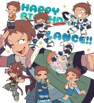 1boy ;d =_= animal_ears bandanna blue_eyes bodysuit brown_hair cat_ears cat_tail chin_stroking dark_skin dark_skinned_male grin gun happy_birthday jacket lance_(voltron) male_focus male_swimwear miyata_(lhr) multiple_persona one_eye_closed open_mouth pajamas slippers smile sparkle star swim_trunks swimwear sword tail uniform v-shaped_eyebrows voltron:_legendary_defender weapon