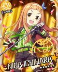 blush brown_eyes brown_hair character_name dress ichihara_nina idolmaster idolmaster_cinderella_girls long_hair microphone smile stars