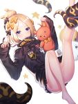 1girl :3 abigail_williams_(fate/grand_order) bangs bare_legs barefoot black_bow black_jacket blonde_hair blue_eyes blush bow closed_mouth commentary_request crossed_bandaids eyebrows_visible_through_hair fate/grand_order fate_(series) hair_bow hair_bun hands_up highres holding holding_stuffed_animal jacket leg_up long_hair long_sleeves looking_at_viewer medjed orange_bow parted_bangs polka_dot polka_dot_bow ririko_(zhuoyandesailaer) simple_background sleeves_past_wrists solo star stuffed_animal stuffed_toy teddy_bear tentacle