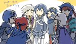 1girl 6+boys armor blue_eyes blue_hair cape chibi closed_eyes crying father_and_daughter fire_emblem fire_emblem:_fuuin_no_tsurugi fire_emblem:_kakusei fire_emblem:_monshou_no_nazo fire_emblem:_souen_no_kiseki fire_emblem_if headband ike krom lucina male_my_unit_(fire_emblem:_kakusei) male_my_unit_(fire_emblem_if) marth multiple_boys my_unit_(fire_emblem:_kakusei) my_unit_(fire_emblem_if) pirihiba pointy_ears roy_(fire_emblem) short_hair shoulder_armor smile super_smash_bros. tears