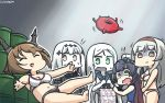 5girls aircraft_carrier_water_oni alternate_costume aqua_eyes bag bangs bikini blank_stare blue_swimsuit breasts closed_eyes comic commentary_request enemy_lifebuoy_(kantai_collection) hamu_koutarou height_difference highres kantai_collection large_breasts long_hair matsuwa_(kantai_collection) medium_breasts midriff multiple_girls mutsu_(kantai_collection) one-piece_swimsuit open_mouth parted_bangs red_eyes shaded_face shinkaisei-kan shoukaku_(kantai_collection) silent_comic slipping swimsuit ta-class_battleship wavy_mouth white_bikini white_hair