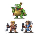 2boys armor asymmetrical_clothes bandage bandaged_arm bandages blonde_hair blue_eyes boots cape castlevania chain_whip claws closed_mouth coat crocodile crocodilian crown donkey_kong_(series) donkey_kong_country from_side gauntlets hand_up headband holding holding_weapon holding_whip king_k._rool long_hair male_focus multiple_boys muscle navel neorice open_mouth pants pixel_art red_cape richter_belmondo scales sharp_teeth short_hair simon_belmondo single_gauntlet smile standing super_smash_bros. teeth transparent_background weapon whip wrist_guards