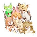 6+girls :3 aardwolf_(kemono_friends) aardwolf_ears animal_ears ashiatomonchich bare_shoulders black_hair blonde_hair bow bowtie caracal_(kemono_friends) caracal_ears cat_day cat_ears cerval check_commentary cheek-to-cheek clenched_hand closed_eyes commentary commentary_request cuddling elbow_gloves eyebrows_visible_through_hair fangs fur_collar gloves green_hair green_skin grey_hair grin hand_on_another's_head highres jaguar_(kemono_friends) jaguar_ears jaguar_print kemono_friends lion_(kemono_friends) lion_ears multicolored_hair multiple_girls neko_atsume open_mouth orange_hair red_eyes saliva sand_cat_(kemono_friends) serval_(kemono_friends) serval_ears serval_print short_hair sleeping sleeveless smile triangle_mouth yellow_eyes