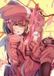 1girl animal_hat arms_up bandanna bangs blush boots brown_footwear brown_hair bullpup bunny_hat cross-laced_footwear eyebrows_visible_through_hair finger_on_trigger fur-trimmed_gloves fur_trim gloves gun hair_between_eyes hat holding holding_gun holding_weapon jacket lace-up_boots llenn_(sao) long_sleeves open_mouth p-chan_(p-90) p90 pants pink_bandana pink_gloves pink_hat pink_jacket pink_pants red_eyes solo submachine_gun sword_art_online sword_art_online_alternative:_gun_gale_online weapon xephonia