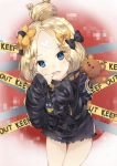 1girl abigail_williams_(fate/grand_order) alternate_hairstyle bandaid_on_forehead bangs belt black_bow black_jacket blonde_hair blue_eyes blush bow caution_tape cheek_pull fang fate/grand_order fate_(series) finger_in_mouth forehead hair_bow hair_bun high_collar highres hips holding holding_stuffed_animal jacket keep_out kkumon long_hair looking_at_viewer open_mouth orange_bow parted_bangs polka_dot polka_dot_bow sleeves_past_fingers sleeves_past_wrists solo stuffed_animal stuffed_toy teddy_bear thighs