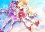 2girls :d ^_^ aisaki_emiru bangs blonde_hair blunt_bangs blush bow closed_eyes closed_eyes commentary_request cure_amour cure_macherie double_v dress drill_hair earrings from_above gloves hair_bow hair_ornament hoshi_(xingspresent) hugtto!_precure jewelry lens_flare long_hair looking_at_viewer looking_up magical_girl multiple_girls open_mouth partial_commentary precure puffy_sleeves red_eyes ruru_amour shiny shiny_hair shiny_skin shoes short_sleeves shoulder-to-shoulder sitting smile sparkle twin_drills twintails v very_long_hair white_gloves
