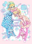 2girls arm_rest bag bandanna bent_over blonde_hair blue-framed_eyewear blue_dress blue_legwear border bukiyama character_name christine_(doubutsu_no_mori) doubutsu_no_mori dress dual_persona ear_piercing eyeshadow francoise_(doubutsu_no_mori) full_body glasses hand_on_another's_head handbag juliet_sleeves long_sleeves makeup mary_janes multiple_girls pantyhose personification piercing pink-framed_eyewear pink_border polka_dot polka_dot_dress puffy_sleeves rabbit shoes short_hair smile white_footwear