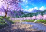 blue_sky bridge cherry_blossoms clouds day highres mount_fuji niko_p no_humans original outdoors scenery signature sky stairs tree volcano