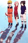 bike_shorts blonde_hair breasts different_reflection dress facial_mark forehead_protector goggles haruno_sakura hatake_kakashi konohagakure_symbol mask multiple_boys multiple_girls naruto naruto_(series) ninja nohara_rin pink_hair reflection sera_(serappi) short_hair spiky_hair team7 thigh-highs uchiha_obito uchiha_sasuke uzumaki_naruto whisker_markings