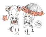 2girls :d ^_^ abigail_williams_(fate/grand_order) bags_under_eyes bangs bare_legs barefoot bikini black_bikini black_bow blush bow closed_eyes closed_eyes double_bun eyebrows_visible_through_hair facing_viewer fate/grand_order fate_(series) food forehead frilled_umbrella frills hair_between_eyes hair_bow hand_up holding holding_umbrella index_finger_raised lavinia_whateley_(fate/grand_order) leg_hug lifebuoy long_hair looking_at_another multiple_girls open_mouth orange_bow orange_eyes pancake parted_bangs side_bun simple_background sitting smile sofra spoken_object stack_of_pancakes stuffed_animal stuffed_toy swimsuit teddy_bear traditional_media umbrella white_background