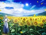 1boy ^_^ abandon_ranka absurdres blue_sky blurry closed_eyes closed_eyes depth_of_field field flower grin hakama hands_on_hips highres huge_filesize japanese_clothes male_focus petals sky smile sun sunflower touken_ranbu tsurumaru_kuninaga white_hair