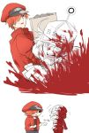 1boy 1girl ae-3803 ahoge black_eyes blood bloody_clothes cabbie_hat flying_sweatdrops gloves grey_eyes hair_over_one_eye hat hataraku_saibou jacket looking_at_another package red_blood_cell_(hataraku_saibou) red_gloves red_jacket redhead role_reversal smile u-1146 uniform white_blood_cell_(hataraku_saibou) white_hair
