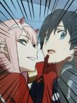 1boy 1girl bangs black_bodysuit black_hair blue_eyes bodysuit commentary couple darling_in_the_franxx english_commentary gloves green_eyes hair_ornament hairband hand_on_another's_chin hetero highres hiro_(darling_in_the_franxx) horns k_016002 long_hair looking_at_viewer oni_horns pilot_suit pink_hair red_bodysuit red_gloves red_horns short_hair sweatdrop white_hairband zero_two_(darling_in_the_franxx)