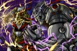 2boys absurdres armor background_lightning belt blank_eyes bodysuit bracelet crossover dougi electricity gloves gold_armor headband helmet highres jewelry male_focus mishima_kazuya multiple_boys muscle osmar-shotgun power_rangers power_rangers:_legacy_wars ryu_ranger_(power_rangers) ryuu_(street_fighter) scar shirtless street_fighter street_fighter_x_tekken tagme tekken thick_eyebrows white_eyes