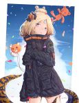 1girl :o abigail_williams_(fate/grand_order) absurdres animal_print balloon bangs black_bow black_jacket blonde_hair blue_eyes blue_sky bow clouds commentary confetti crossed_bandaids dated day eyebrows_visible_through_hair fate/grand_order fate_(series) fou_(fate/grand_order) hair_bow hair_bun hand_up head_tilt highres jacket long_hair long_sleeves looking_at_viewer mokamocha orange_bow outdoors parted_bangs parted_lips polka_dot polka_dot_bow signature sky sleeves_past_fingers sleeves_past_wrists solo stuffed_animal stuffed_toy suction_cups teddy_bear tentacle tiger_print
