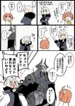 ... 1boy 2girls ahoge armor bangs black_cloak black_dress blush chaldea_uniform coat comic commentary_request dress eiri_(eirri) embarrassed eyebrows_visible_through_hair facepalm fate/grand_order fate_(series) fujimaru_ritsuka_(female) fur-trimmed_coat fur_trim glowing glowing_eyes hair_between_eyes hair_ornament hair_scrunchie horns jacket jeanne_d'arc_(alter)_(fate) jeanne_d'arc_(fate)_(all) king_hassan_(fate/grand_order) long_sleeves multiple_girls open_mouth orange_hair pulling scrunchie short_hair side_ponytail silver_hair skull skull_mask sparkle sparkling_eyes speech_bubble spikes spoken_ellipsis sweatdrop white_background wicked_dragon_witch_ver._shinjuku_1999 yellow_eyes yellow_scrunchie