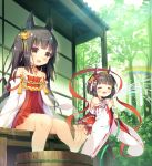 2girls :d =_= animal_ears asa_(swallowtail) azur_lane bangs black_legwear blush brown_eyes brown_hair closed_eyes collarbone commentary_request day detached_sleeves dress eyebrows_visible_through_hair forest fox_ears hair_ornament hakama holding holding_hose hose japanese_clothes kimono long_hair long_sleeves multiple_girls mutsu_(azur_lane) nagato_(azur_lane) nature nontraditional_miko open_mouth outdoors pleated_dress rainbow red_dress red_hakama ribbon-trimmed_sleeves ribbon_trim short_hair short_kimono smile standing standing_on_one_leg strapless strapless_dress thigh-highs tree very_long_hair water white_kimono wide_sleeves