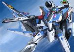 canards clouds commentary dual_persona energy_cannon flying gunpod i.t.o_daynamics macross macross_delta mecha realistic roundel science_fiction shoulder_cannon variable_fighter vf-31