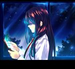 1girl blue_eyes brown_hair cellphone collared_shirt flip_phone labcoat letterboxed long_hair looking_at_phone makise_kurisu necktie night night_sky phone profile shirt sky smile solo steins;gate straight_hair sunege tree upper_body window