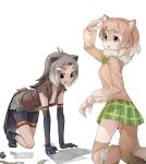 2girls all_fours american_beaver_(kemono_friends) animal_ears bare_shoulders beaver_ears beaver_tail bike_shorts bike_shorts_under_shorts black-tailed_prairie_dog_(kemono_friends) boots bow bowtie bra brown_hair commentary_request elbow_gloves extra_ears eyebrows_visible_through_hair forehead fur_collar gloves grey_hair hair_ornament hairclip highres kemono_friends kneeling light_brown_hair long_sleeves multicolored_hair multiple_girls paper plaid plaid_skirt pleated_skirt prairie_dog_ears prairie_dog_tail short_hair shorts skirt sleeveless sweater tail thigh-highs tito_(men-hukurou) underwear vest