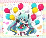 1girl 39 :d absurdly_long_hair balloon bangs black_legwear black_sailor_collar blue_skirt blush chibi commentary_request detached_sleeves eyebrows_visible_through_hair green_eyes green_hair hair_between_eyes hair_ornament hatsune_miku head_tilt heart holding holding_balloon long_hair long_sleeves magical_mirai_(vocaloid) open_mouth outstretched_arms pleated_skirt puffy_long_sleeves puffy_sleeves round_teeth sailor_collar shirt shoes skirt sleeveless sleeveless_shirt smile solo spread_arms standing standing_on_one_leg sudachi_(calendar) teeth thigh-highs twintails upper_teeth very_long_hair vocaloid white_shirt