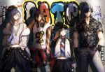 4boys :p abandon_ranka backwards_hat baseball_cap black_gloves black_hair blue_hair brown_hair candy clothes_around_waist contemporary dark_skin dark_skinned_male denim eyepatch eyewear_removed food gloves graffiti hat headphones headphones_around_neck highres hood hoodie jeans jewelry lollipop male_focus microphone multiple_boys necklace ookurikara pants ripped_jeans shokudaikiri_mitsutada smile sunglasses taikogane_sadamune tank_top tongue tongue_out touken_ranbu tsurumaru_kuninaga white_hair yellow_eyes