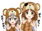 2girls animal_costume bandage bangs bear_costume black_ribbon boko_(girls_und_panzer) brown_eyes brown_hair claw_pose commentary_request eyebrows_visible_through_hair eyepatch fang flipper girls_und_panzer hair_ribbon light_brown_hair long_hair looking_at_viewer multiple_girls nishizumi_miho open_mouth pajamas ribbon scar scar_across_eye shimada_arisu short_hair simple_background smile standing stuffed_animal stuffed_toy teddy_bear upper_body white_background