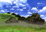 absurdres black_shirt blonde_hair blue_sky brown_jacket clouds day girls_und_panzer ground_vehicle highres jacket kay_(girls_und_panzer) long_hair m4_sherman military military_vehicle motor_vehicle official_art open_clothes open_jacket outdoors saunders_military_uniform shirt sky smile tank yoshida_nobuyoshi