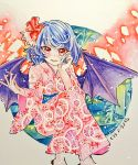 1girl bat_wings blue_hair blush chaka3464 comiket_94 feet_out_of_frame flower geta hair_flower hair_ornament hand_in_hair hand_on_own_cheek japanese_clothes kimono open_mouth plant pointy_ears red_eyes remilia_scarlet ribbon shikishi sitting smile touhou traditional_media wings