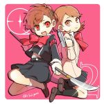 2girls atlus bow brown_eyes brown_hair evoker female_protagonist_(persona_3) gekkoukan_high_school_uniform looking_at_another megami_tensei multiple_girls naginata persona persona_3 persona_3_portable persona_q2:_new_cinema_labyrinth persona_q_(series) pink_background polearm red_eyes school_uniform shiomi_kotone simple_background skirt smile takeba_yukari weapon