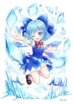 1girl bare_legs blue_eyes blue_hair bow cannan cirno hair_bow ice ice_crystal ice_wings mary_janes midair multicolored multicolored_clothes multicolored_skirt one_eye_closed open_mouth shoes skirt smile socks touhou wings