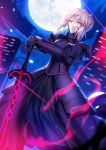 1girl absurdres armor armored_dress artoria_pendragon_(all) black_dress dark_excalibur dress dutch_angle eyebrows_visible_through_hair fate/stay_night fate_(series) from_below full_moon fuyuki_(neigedhiver) gauntlets hair_between_eyes hands_on_hilt highres looking_at_viewer moon night outdoors red_dress saber_alter short_hair_with_long_locks sidelocks silver_hair solo standing yellow_eyes