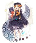 1girl abigail_williams_(fate/grand_order) animal bangs black_bow black_dress black_footwear black_hat blonde_hair bloomers blue_eyes blush bow bug butterfly closed_mouth commentary_request dress fate/grand_order fate_(series) forehead full_body hair_bow haku_(sabosoda) hat insect long_hair long_sleeves looking_at_viewer mary_janes medjed object_hug octopus orange_bow parted_bangs polka_dot polka_dot_bow shoes sleeves_past_fingers sleeves_past_wrists star stuffed_animal stuffed_toy suction_cups teddy_bear tentacle tokitarou_(fate/grand_order) underwear v-shaped_eyebrows very_long_hair white_bloomers