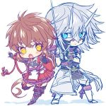 1boy 1girl armor blue_background blue_eyes chibi gauntlets gloves himono_xeno long_hair looking_at_viewer lora_(xenoblade_2) mask parted_lips pauldrons redhead shin_(xenoblade) short_hair simple_background skirt solo sword weapon white_background xenoblade_(series) xenoblade_2 yellow_eyes