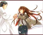 1boy 1girl belt black_hair brown_hair collared_shirt cowboy_shot denim denim_shorts facial_hair jacket labcoat letterboxed long_hair looking_at_another makise_kurisu off_shoulder okabe_rintarou open_mouth outstretched_hand pantyhose pantyhose_under_shorts petals red_eyes shirt short_hair shorts simple_background steins;gate stubble sunege white_background wind
