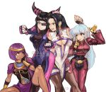 4girls alpaca_carlesi bandaid bandaid_on_face biker_clothes bikesuit black_hair blue_hair breasts capcom china_dress chinese_clothes cleavage_cutout crossover dress drill_hair earrings eyepatch fingerless_gloves gloves han_juri hand_on_own_cheek jewelry kula_diamond long_hair luong menat multiple_girls navel_cutout pantyhose purple_hair shawl short_hair simple_background snk street_fighter street_fighter_v tearing_up the_king_of_fighters the_king_of_fighters_xiv tongue tongue_out twin_drills under_boob watermark zipper