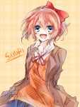 1girl :d arms_behind_back blue_eyes bow character_name doki_doki_literature_club eyebrows_visible_through_hair hair_between_eyes hair_bow jacket looking_at_viewer negi_(ngng_9) open_clothes open_jacket open_mouth orange_vest pink_hair plaid plaid_background red_bow sayori_(doki_doki_literature_club) school_uniform shirt short_hair smile solo white_shirt