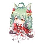 1girl :3 :d ahoge akashi_(azur_lane) animal_ears azur_lane bangs bell blush bow braid brown_eyes cat_ears chibi commentary_request eminya_27 eyebrows_visible_through_hair frilled_sleeves frills gears green_hair hair_bell hair_between_eyes hair_bow hair_ornament hands_up highres japanese_clothes jingle_bell kimono long_hair long_sleeves looking_at_viewer obi open_mouth red_bow red_kimono ribbon-trimmed_legwear ribbon_trim sash screwdriver shide short_kimono signature sleeves_past_fingers sleeves_past_wrists smile solo star star_in_eye striped symbol_in_eye thigh-highs vertical-striped_kimono vertical_stripes very_long_hair white_background white_legwear wide_sleeves wrench