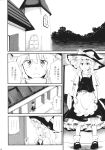 1girl apron bow braid comic dress greyscale hat hat_bow highres house kirisame_marisa long_hair mitsunara monochrome short_sleeves single_braid touhou waist_apron witch_hat
