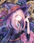 1girl hair_over_one_eye hand_up hat little_witch_academia long_hair mushroom pale_skin pink_hair red_eyes rinmmo solo standing sucy_manbavaran vial wide_sleeves witch witch_hat