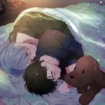 2boys animal bed bed_sheet black_hair black_shirt blue_eyes clenched_hand closed_eyes dog expressionless eyebrows_visible_through_hair green_shirt half-closed_eyes happy indoors katsuki_yuuri long_sleeves looking_at_another lying makkachin male_focus multiple_boys nightstand pillow shirt short_hair sleeping smile sunlight tadano53 tongue tongue_out viktor_nikiforov white_hair yaoi yuri!!!_on_ice