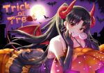 1girl :q bat black_gloves black_hair collarbone demon_tail demon_wings dress elbow_gloves fate/grand_order fate_(series) floating_hair full_moon gloves halloween halloween_costume horns ishtar_(fate/grand_order) kelinch1 layered_dress long_dress long_hair looking_at_viewer moon red_eyes red_wings sleeveless sleeveless_dress smile solo tail tongue tongue_out trick_or_treat twintails very_long_hair wings